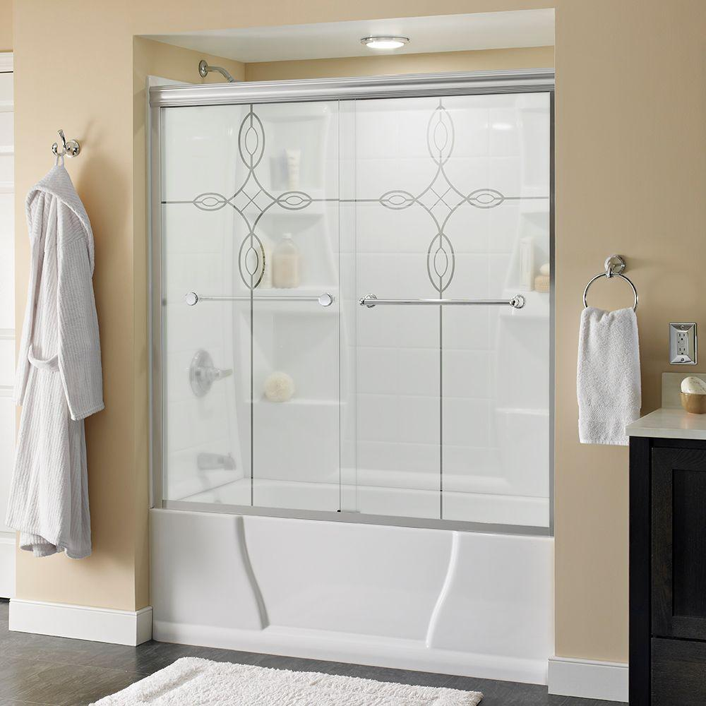 Delta Crestfield 60 in. x 58-1/8 in. Semi-Frameless Sliding Bathtub Door in Chrome with Tranquility Glass