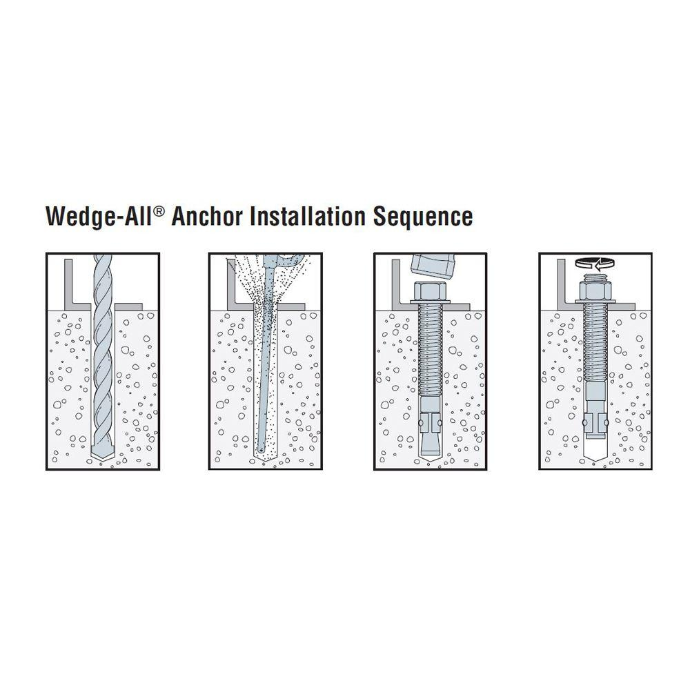 "10 1//2/"" x 5-1//2/"" Concrete Wedge Anchor Zinc Simpson Strong-Tie WA50512"