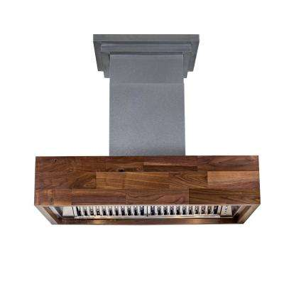 30 in. 900 CFM Wooden Convertible Wall Mount Range Hood Butcher Block with Lights in Walnut