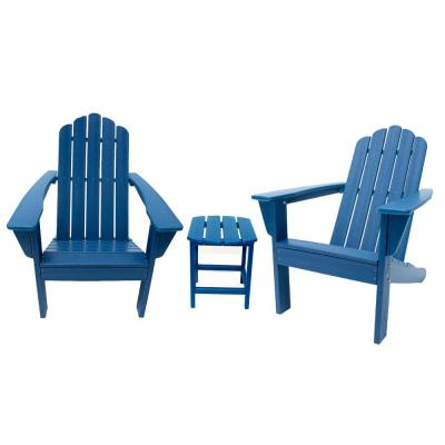 Marina Navy 3-Piece Poly Plastic Outdoor Patio Adirondack Chair and Table Set