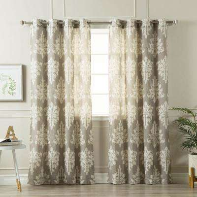 96 in. L Linen Blend Medina Curtains in Grey (2-Pack)