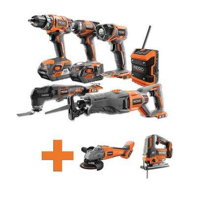 18-Volt Lithium-Ion Cordless Combo Kit (6-Tool) (2) 4Ah Batt and Charger w/Bonus Brushless Jig Saw and Angle Grinder
