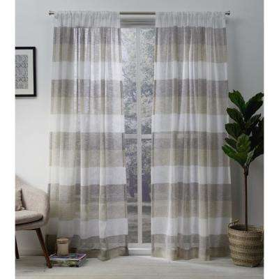 Bern 50 in. W x 96 in. L Sheer Rod Pocket Top Curtain Panel in Natural (2 Panels)