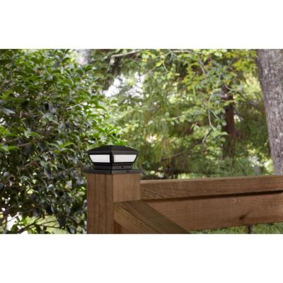 3.5 in. x 3.5 in. Outdoor Black Solar Integrated LED Plastic Post Cap Light with a 5.5 in. x 5.5 in. Adaptor (2-Pack)