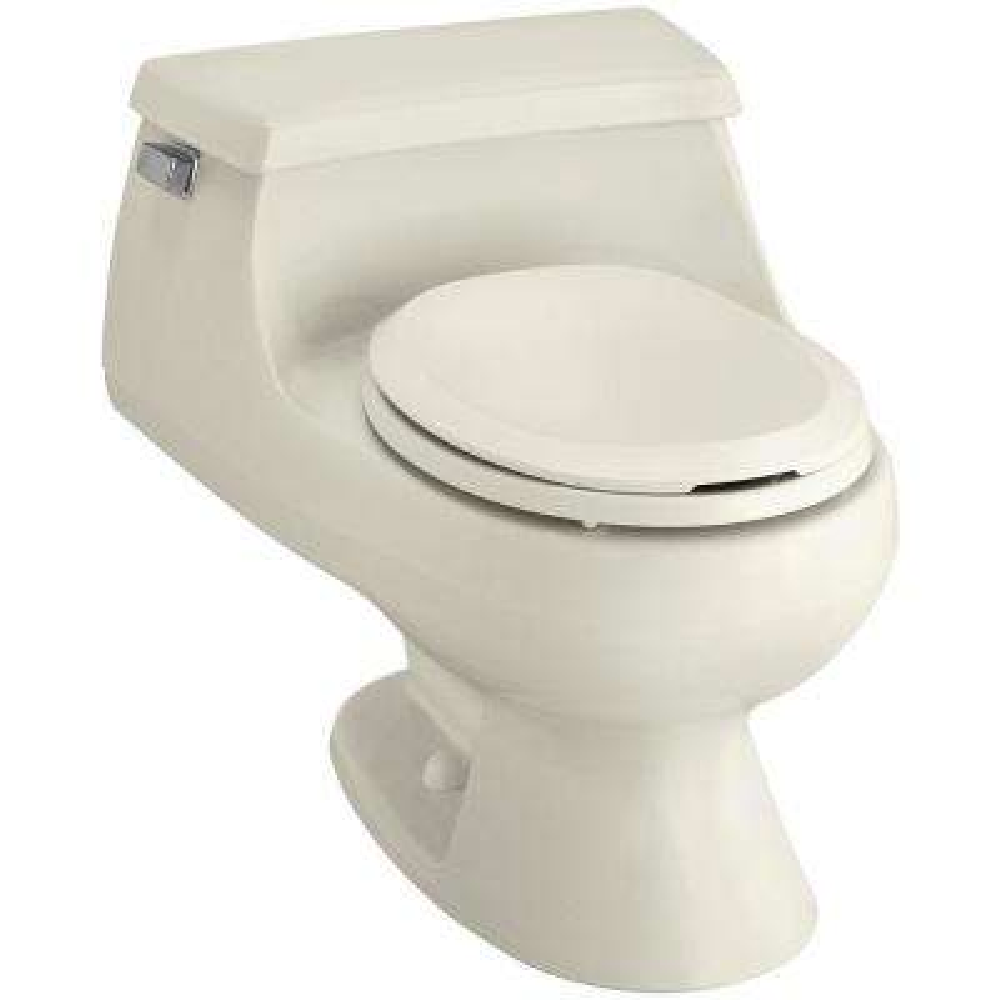 Rialto 1-piece 1.6 GPF Single Flush Round Toilet in Biscuit