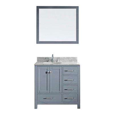Caroline Avenue 36 in. W Bath Vanity in Gray with Marble Vanity Top in White with Round Basin and Mirror