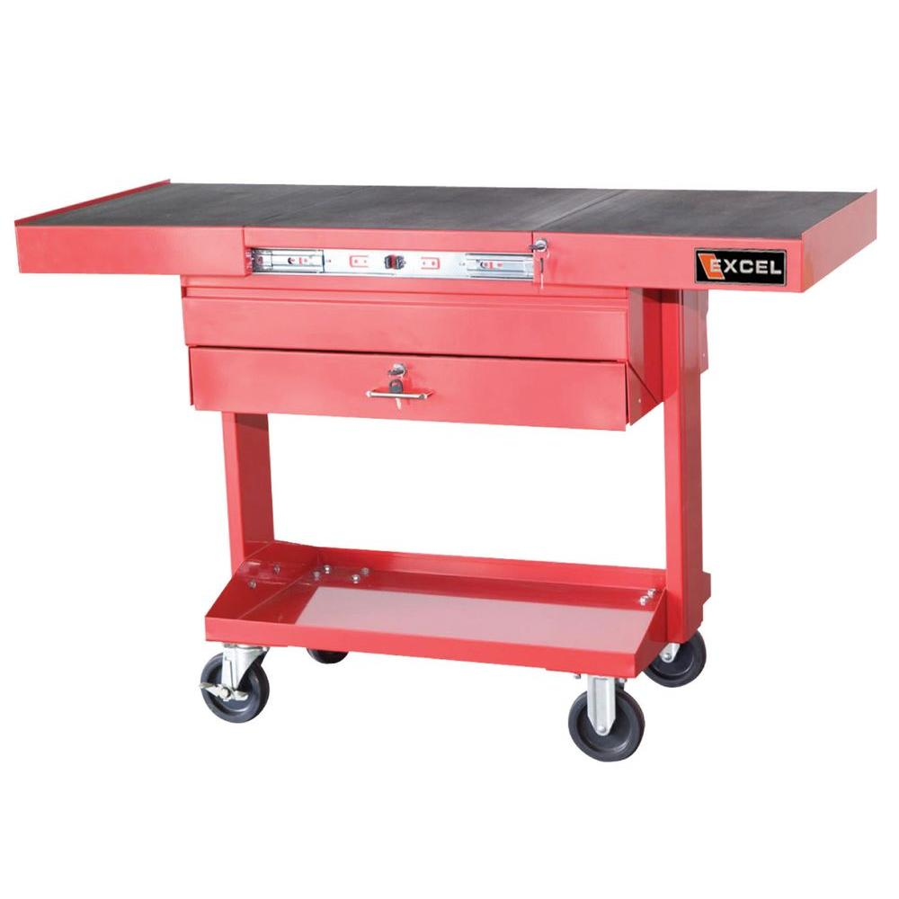 Excel 50.2 in. W x 21.1 in. D x 33.6 in. H Red Steel Tool Cart