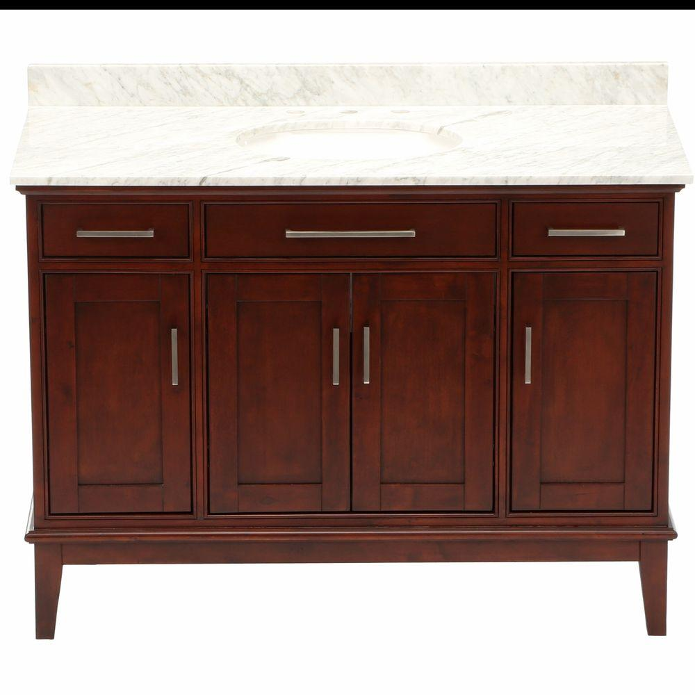 Hatton 48 in. Vanity in Light Chestnut with Marble Vanity Top