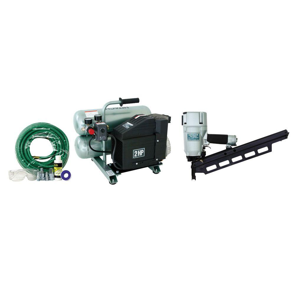 Hitachi Framing Nailer Kit with 3-1/4 in. Stick Round Head Framing Nailer, 4-Gal. Air Compressor, Hose and Fittings-DISCONTINUED