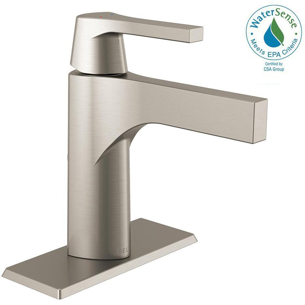 Delta Zura Single Hole Single-Handle Bathroom Faucet with Metal Drain Assembly in Stainless
