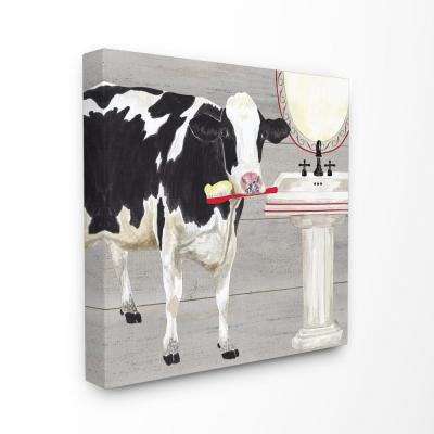 """24 in. x 24 in.  """"Bath Time For Cows at Sink Red Black and GreyPainting"""" by Tara Reed Canvas Wall Art"""