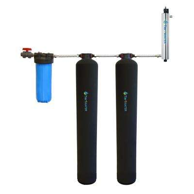 Carbon and KDF Water Filtration System with UV Water Purification and Salt Free Water Softening System for 4-6 Bathrooms