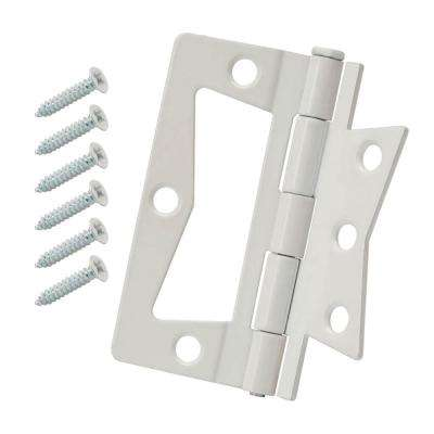 1-1/4 in. x 3 in. White Non-Mortise Hinges (2-Pack)