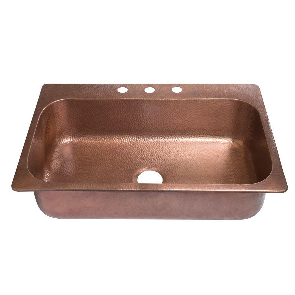 SINKOLOGY Angelico Drop-in Handmade Pure Copper 33 inch 3-Hole Single Bowl Kitchen Sink in Antique Copper by SINKOLOGY