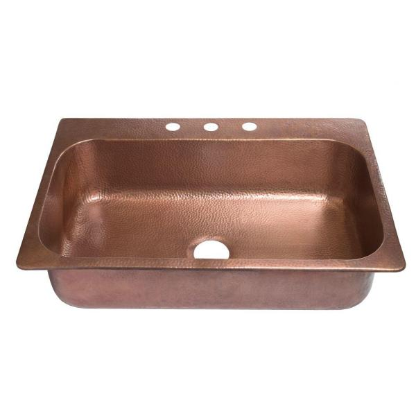 Angelico Drop-In Handmade Pure Copper 33 in. 3-Hole Single Bowl Kitchen Sink in Hammered Antique Copper