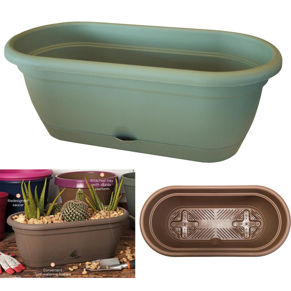 18 in. Living Green Lucca Plastic Window Box