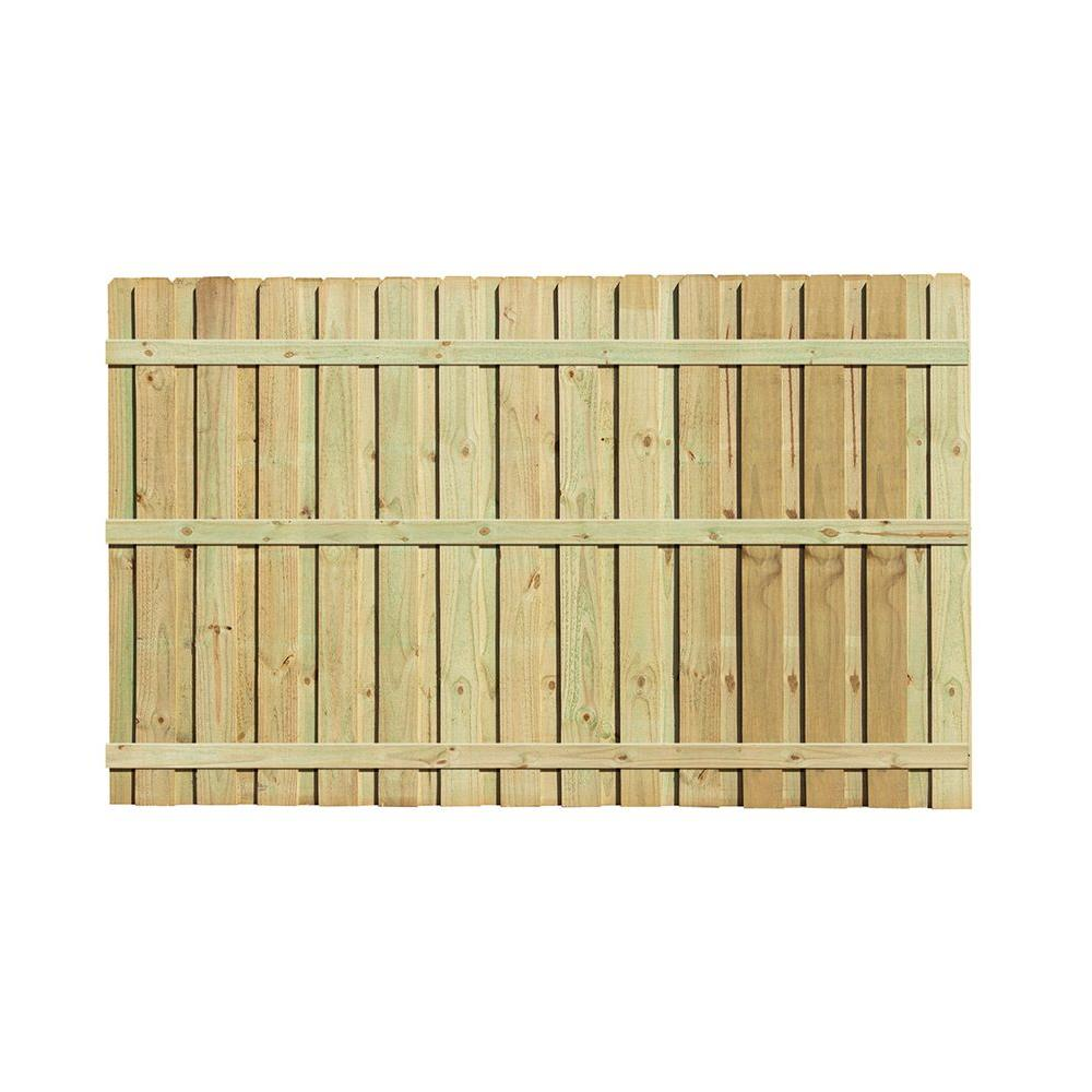 6 Ft H X 8 Ft W Pressure Treated Pine Board On Board Fence Panel 105819 The Home Depot