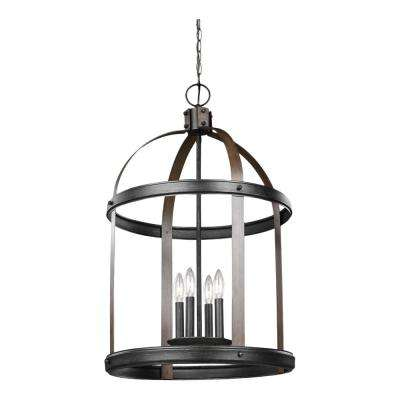 Lonoke 19 in. W. 4-Light Weathered Gray and Distressed Oak Hall-Foyer Pendant with Dimmable Candelabra LED Bulbs