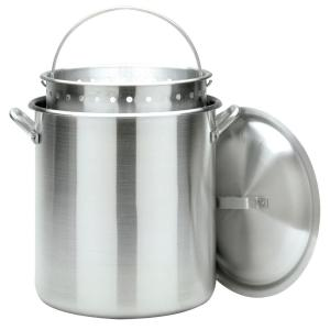 Click here to buy Bayou Classic 120 qt. Aluminum Stockpot with Perforated Basket and Vented Lid by Bayou Classic.