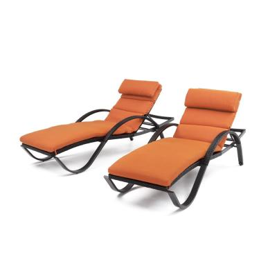 Deco Patio Lounger with Tikka Orange Cushion and Bolster Pillow (2-Pack)