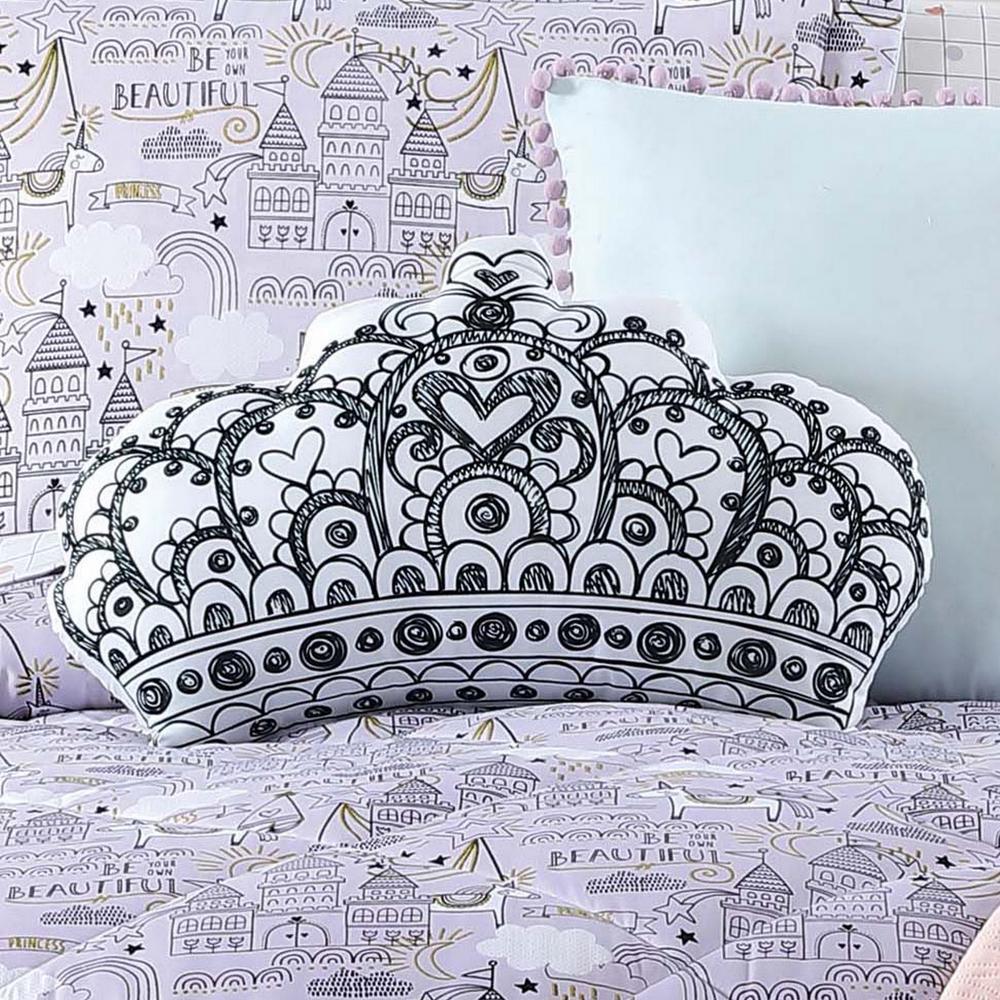 Kids Unicorn Princess Printed Crown Pillow