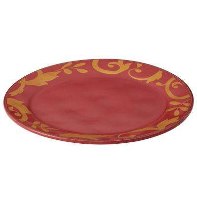 Dinnerware Gold Scroll 12-1/2 in. Round Platter in Cranberry Red