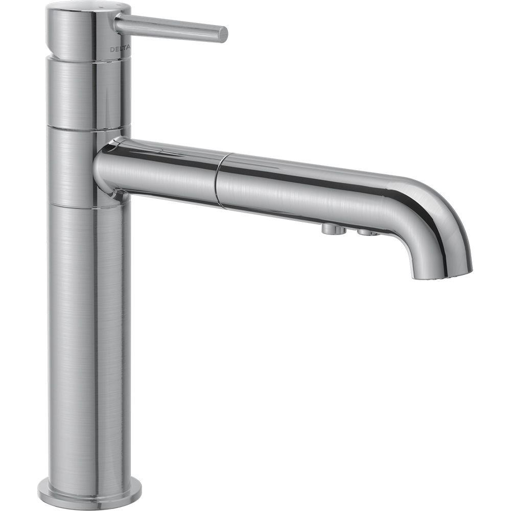 Delta Trinsic Single Handle Pull Out Sprayer Kitchen Faucet In Arctic  Stainless 4159 AR DST   The Home Depot