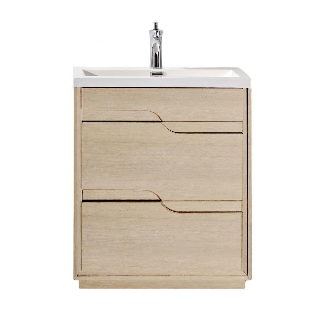 Lulu 25.6 in. W x 18.5 in. D Vanity in Oak with Wood Veneer Vanity Top in White with Oak Basin