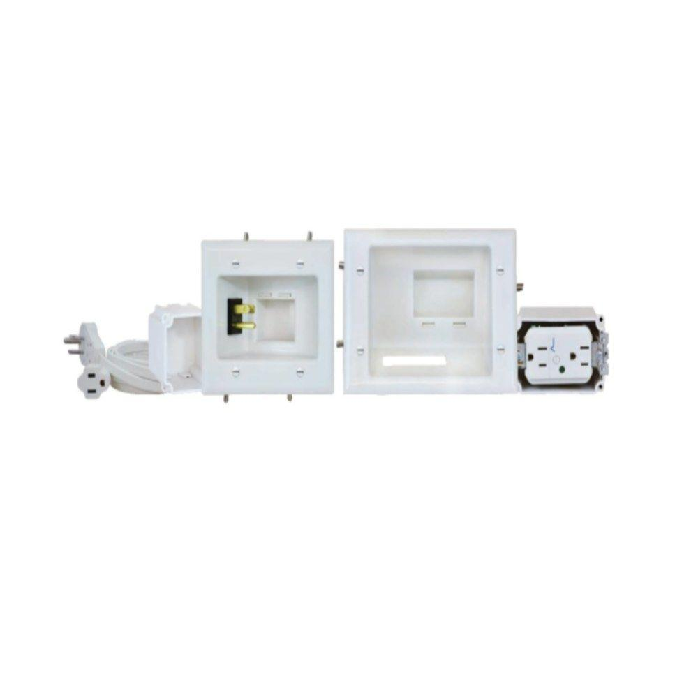DataComm Recessed Pro-Power Kit with Duplex Surge Suppressor and Straight Blade Inlet