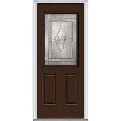 32 in. x 80 in. Master Nouveau Right-Hand 1/2-Lite Decorative 2-Panel Painted Fiberglass Smooth Prehung Front Door