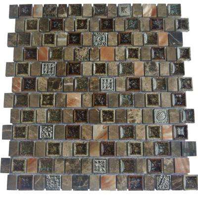 Charm II Forest Glass and Stone Floor and Wall Tile - 3 in. x 6 in. Tile Sample