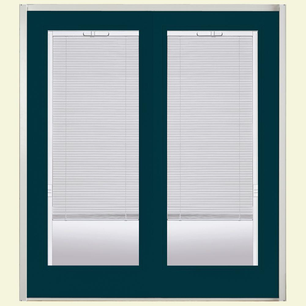 Masonite 60 in. x 80 in. Night Tide Prehung Right-Hand Inswing Mini Blind Steel Patio Door with No Brickmold in Vinyl Frame