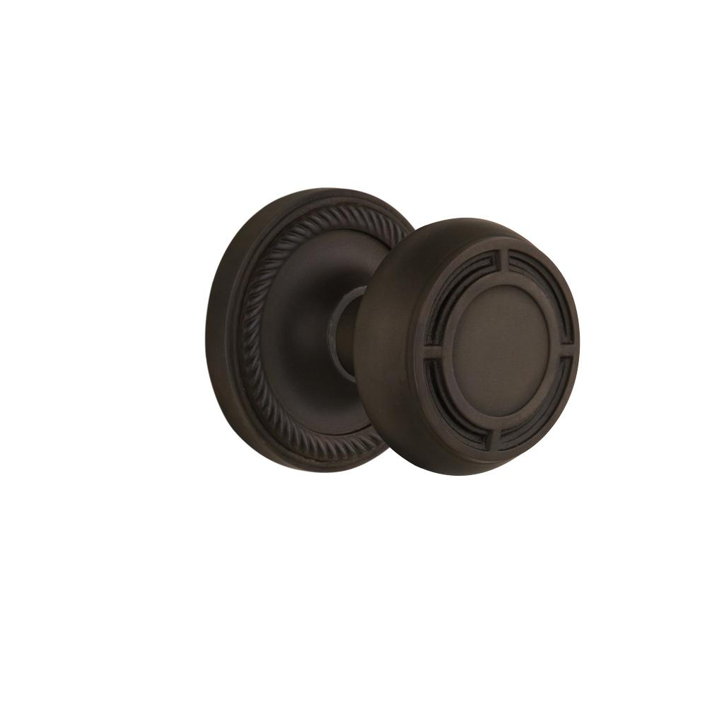 Rope Rosette Interior Mortise Mission Door Knob in Oil-Rubbed Bronze