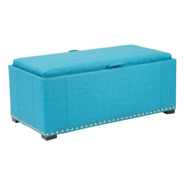 OSP Home Furnishings Florence Teal Fabric Bench with Cubes, Silver Nail-Heads and Coffee Legs