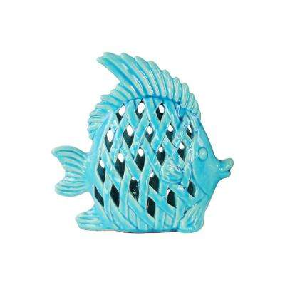 9 in. H Fish Decorative Figurine in Turquoise Gloss Finish