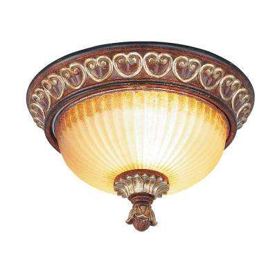 Providence 2 Light Verona Bronze with Aged Gold Leaf Accents Incandescent Flushmount