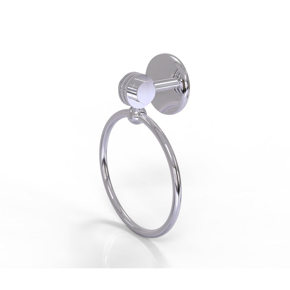 Allied Brass Satellite Orbit Two Collection Towel Ring with Dotted Accent in Polished Chrome
