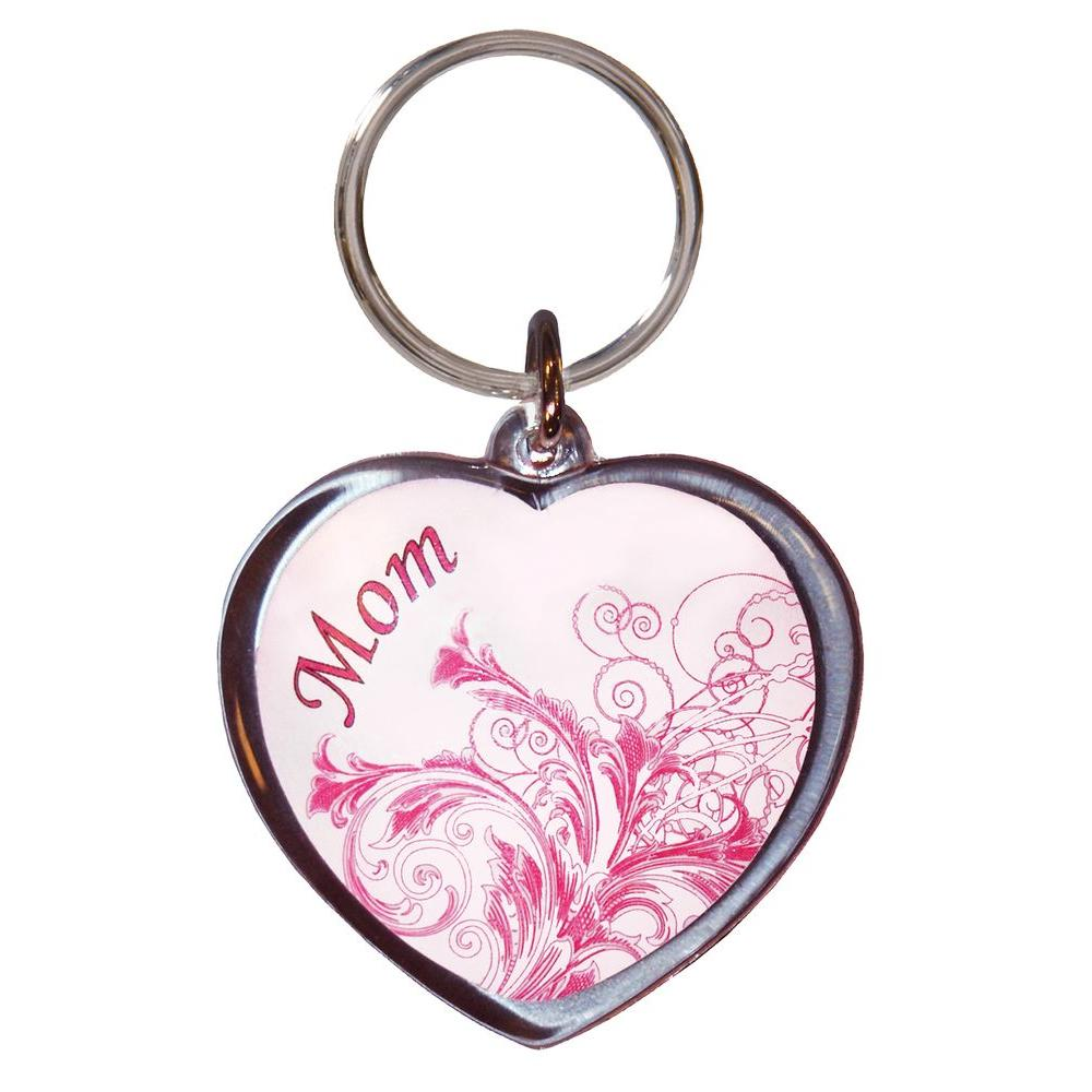 Mom Heart Acrylic Key Chain (3-Pack)