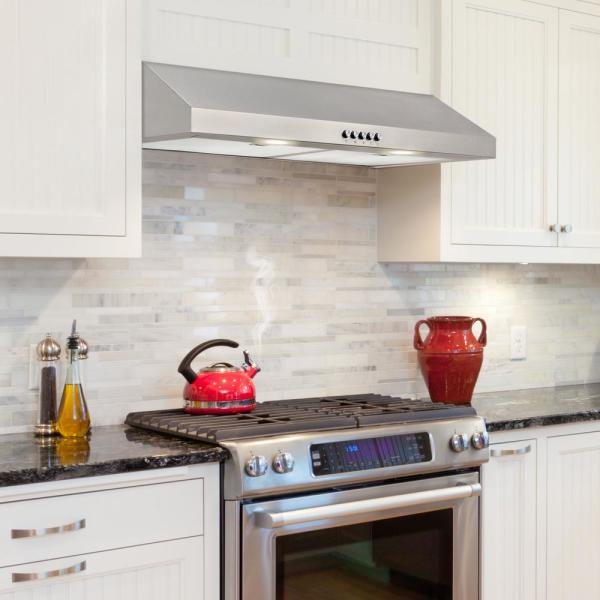 Vissani 30 In W Convertible Under Cabinet Range Hood With Charcoal Filter In Stainless Steel Qr254s The Home Depot