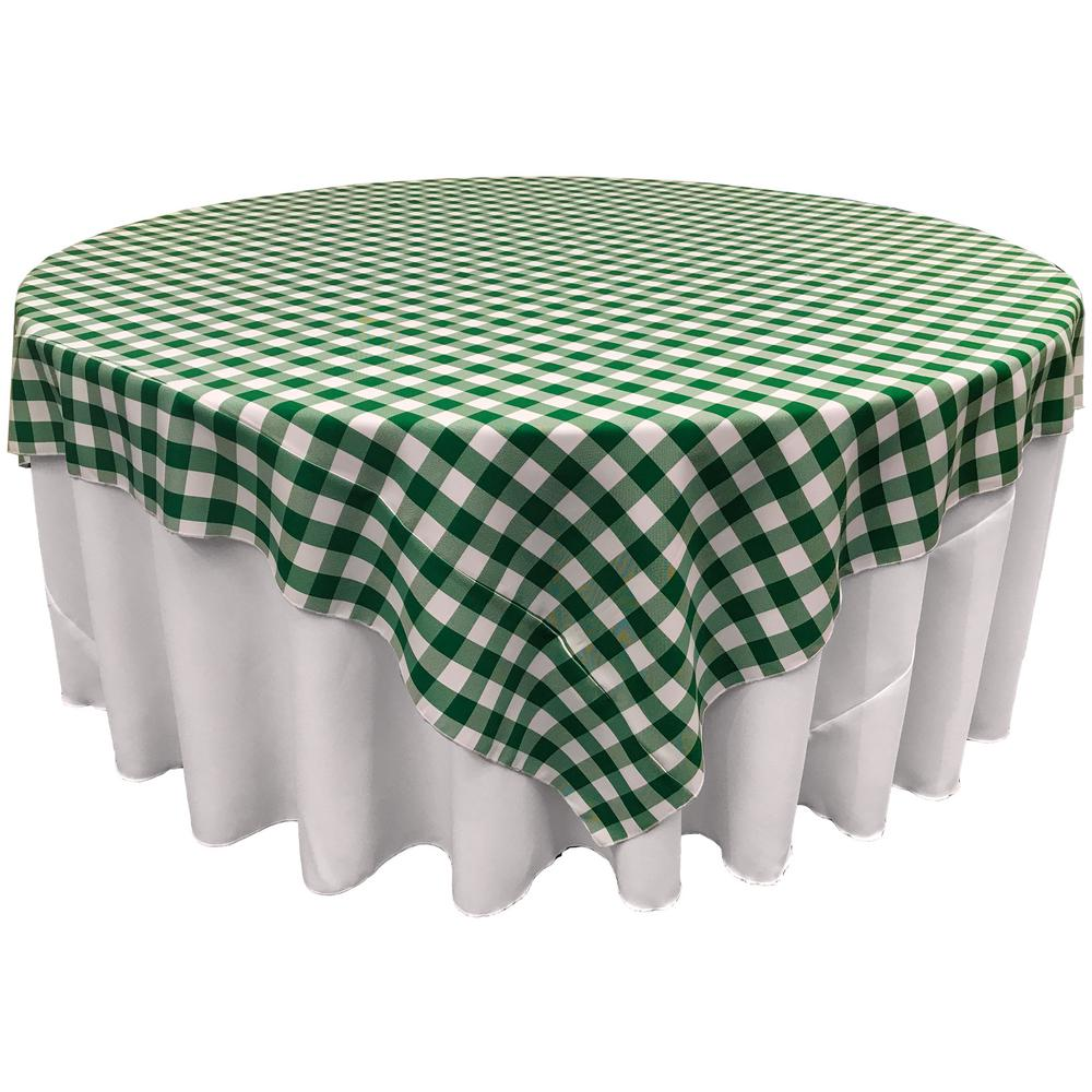 LA Linen 72 in. x 72 in. White and Hunter Green Polyester Gingham Checkered  Square Tablecloth-TCcheck72x72_HunterGreenK20 - The Home Depot