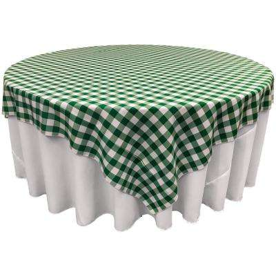 72 in. x 72 in. White and Hunter Green Polyester Gingham Checkered Square Tablecloth