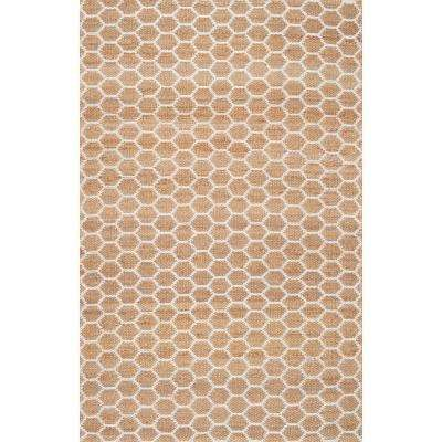Reversible Honeycomb Alisha Jute Natural 8 ft. 6 in. x 11 ft. 6 in. Area Rug