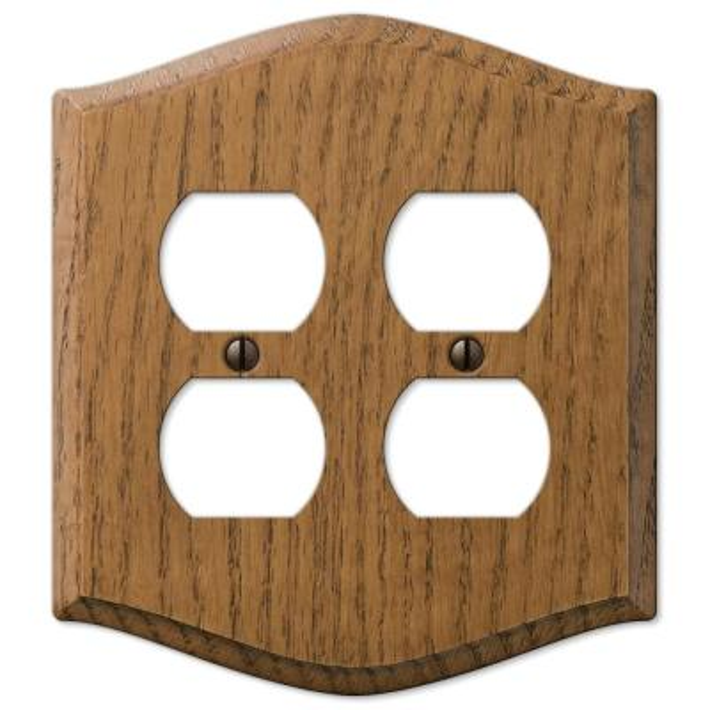 Country 2 Gang Duplex Wood Wall Plate - Medium Oak