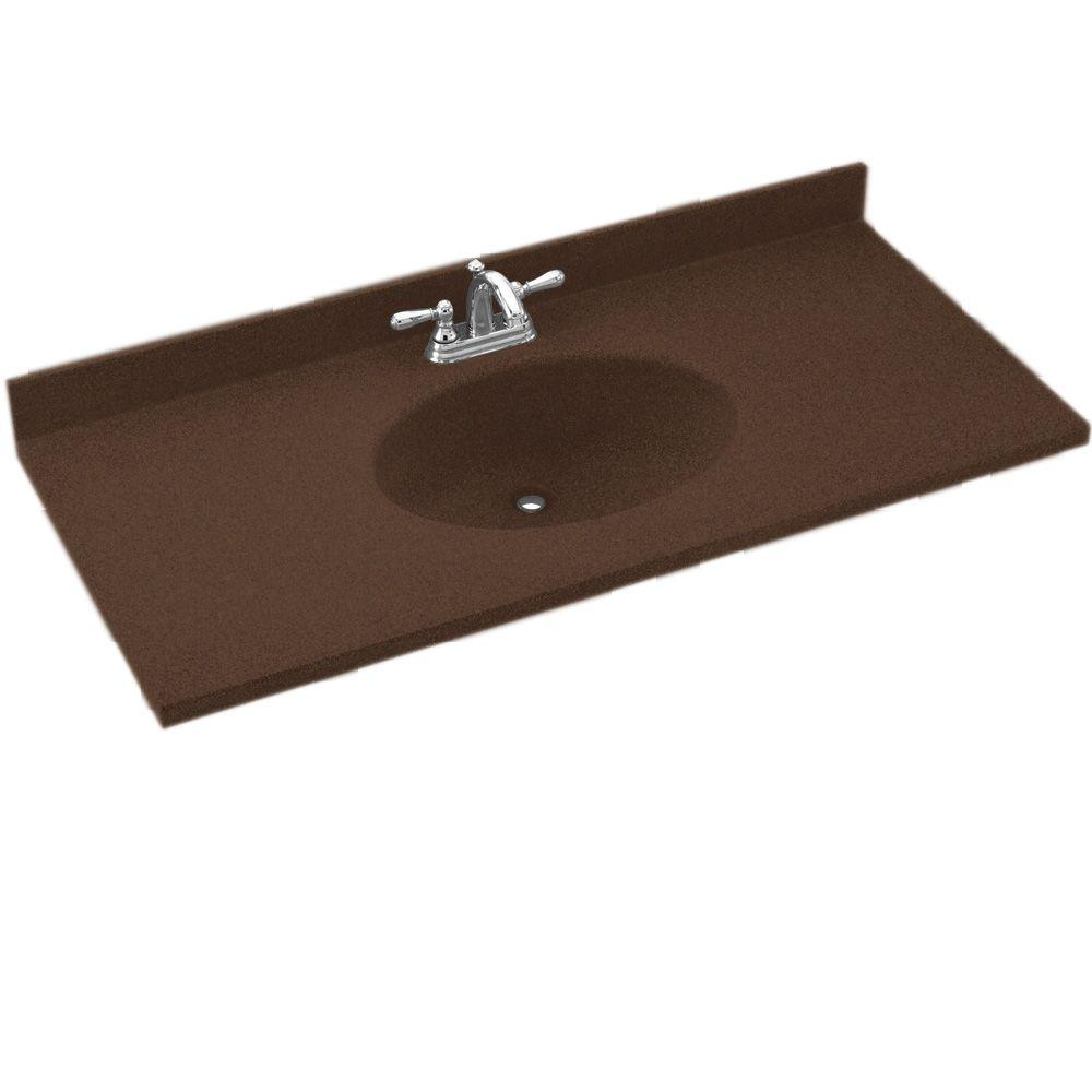 Swanstone Chesapeake 49 in. Solid Surface Vanity Top in Acron with Acorn Basin-DISCONTINUED