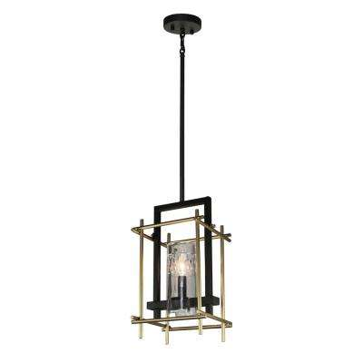 1-Light Oil Rubbed Bronze and Satin Brass Pendant