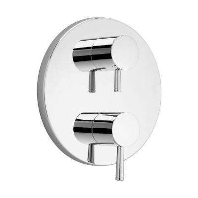 Serin 2-Handle Thermostat Valve Trim Kit in Chrome with Separate Volume Control (Valve Sold Separately)