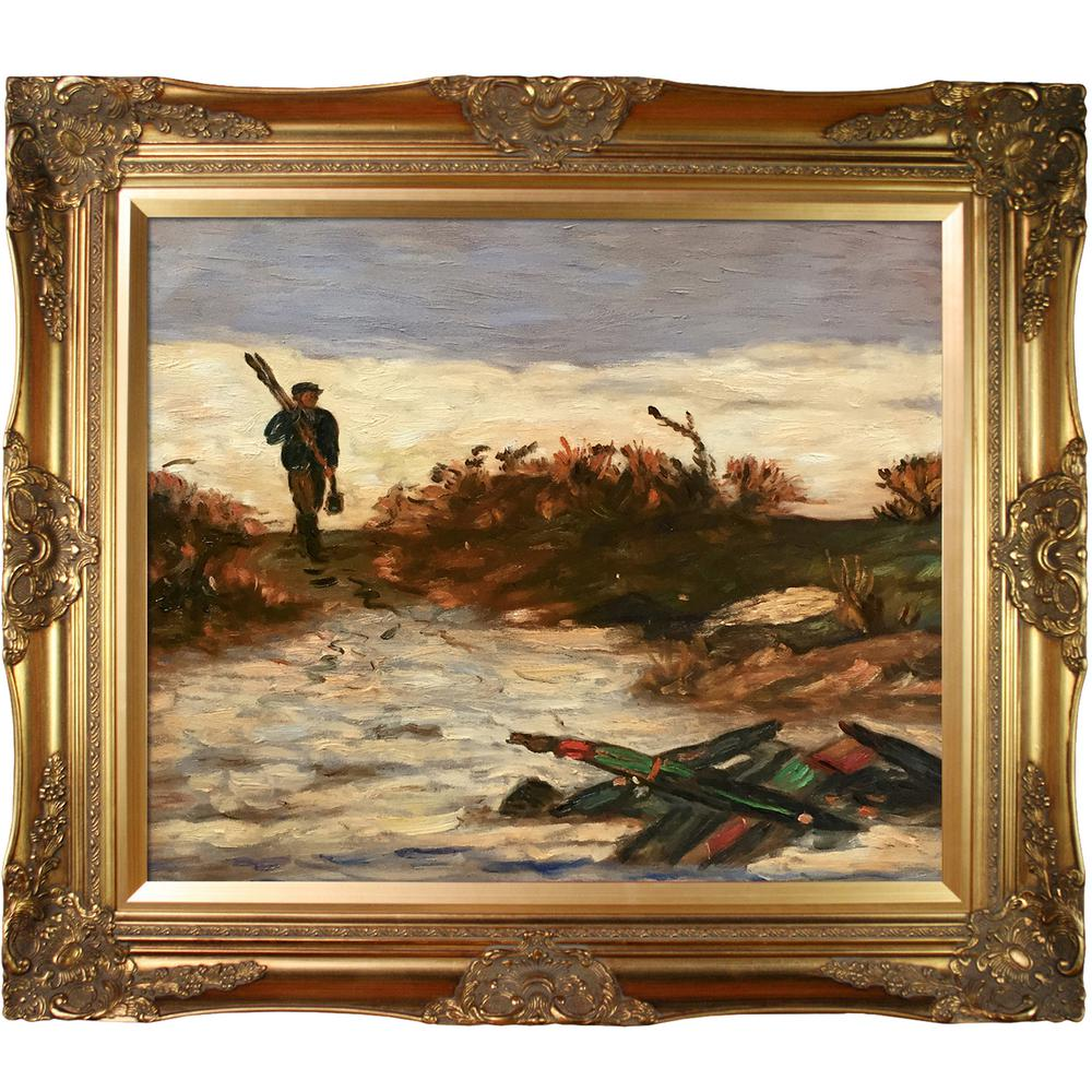 LA PASTICHE 28 in. x 32 in. Fisherman by Water with Victorian Gold by Edward Mitchell Bannister Framed Wall Art, Multi-Colored was $988.0 now $419.06 (58.0% off)
