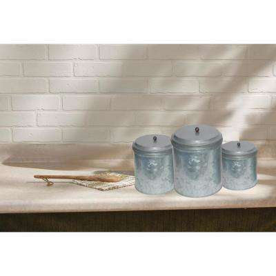 3-Piece Galvanized Metal Lidded Gray Canister Set with Ball Knob