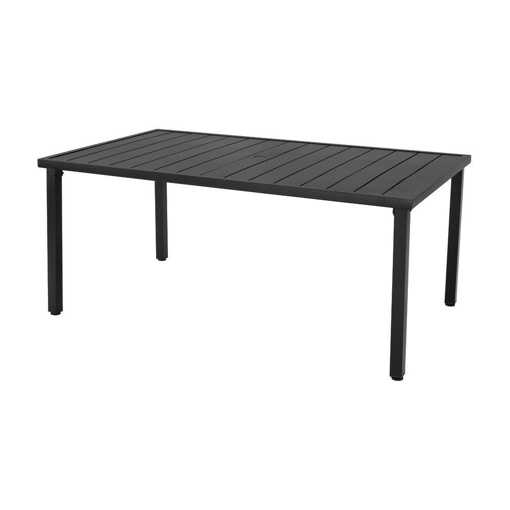 Hampton Bay High Garden Black Steel Rectangular Outdoor Patio Dining  Table-GL-11-B-TBL - The Home Depot