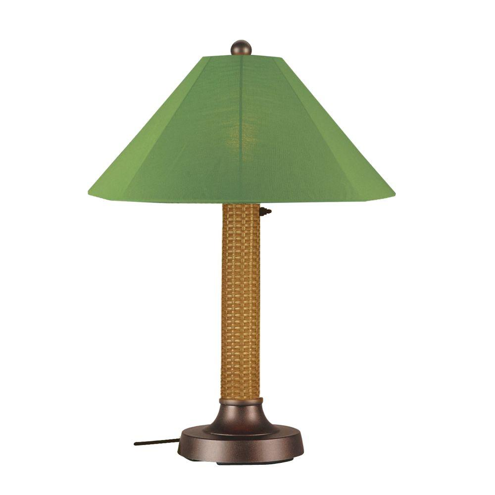 Bahama Weave 34 in. Mocha Cream Outdoor Table Lamp with Palm